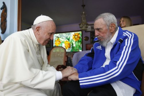 Pope Francis and Fidel Castro embrace hands at a 40-minute meeting inside Castro's residence during the pontiff's trip to Havana on Sept. 20, 2015. Alex CastroÑAP